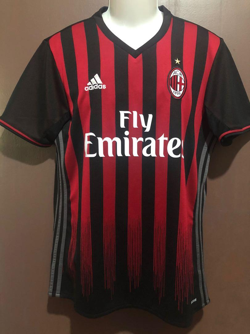 Ac Milan 2016 17 Home Jersey Sports Athletic Sports Clothing On Carousell