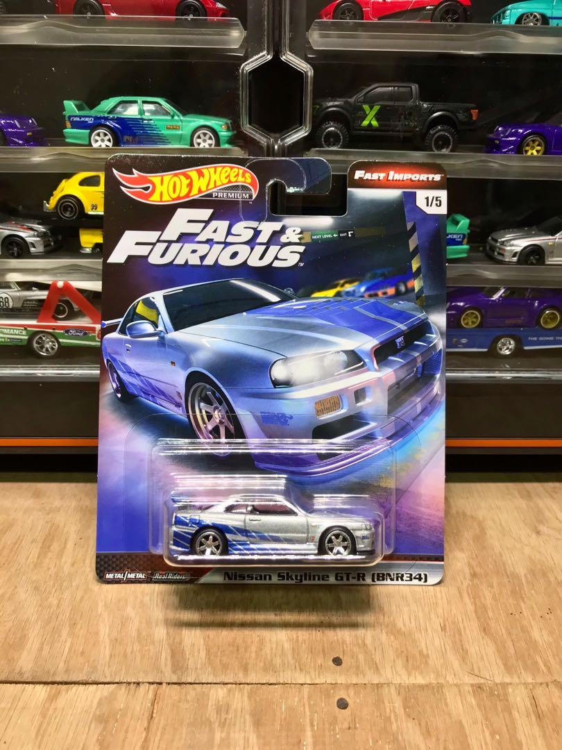Hot Wheels Fast And Furious Fast Imports Nissan Skyline R34 Gt R Bnr34 Premium Series Toys Games Diecast Toy Vehicles On Carousell