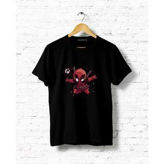 Kaos Deadpool Patrickevans 100% Cotton Hitam Sisa Size S, XL