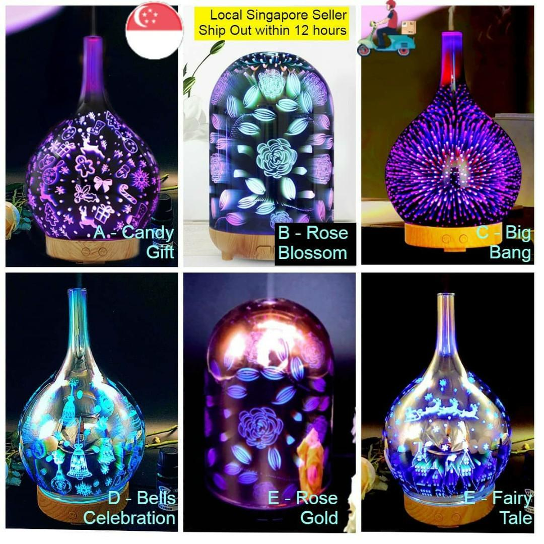 Luxury Hand Crafted 3d 7 Colour Led Glass Aromatherapy Essential Oil Humidifier Diffuser Home Appliances Cooling Air Care On Carousell