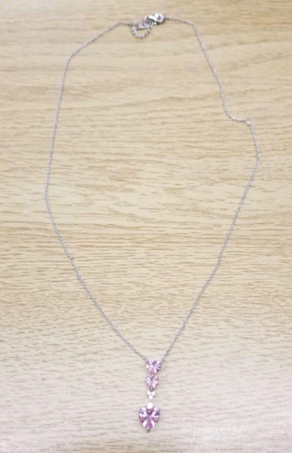 Pink Swarovski elements hearts Necklace