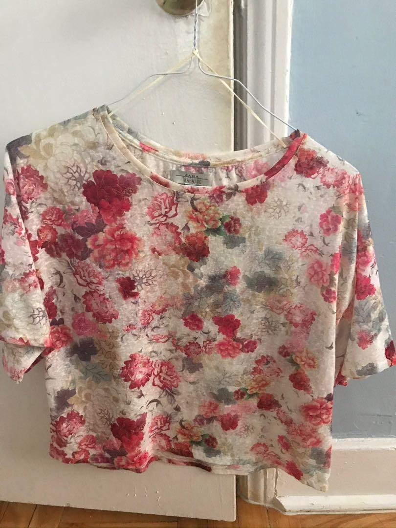 Zara Floral Crop Top Size Small