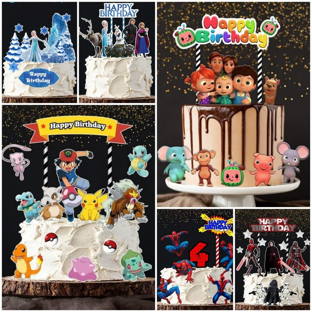 1set 12 Pokemon Cocomelon Frozen Moana Rapunzal Cake Topper Design Craft Others On Carousell