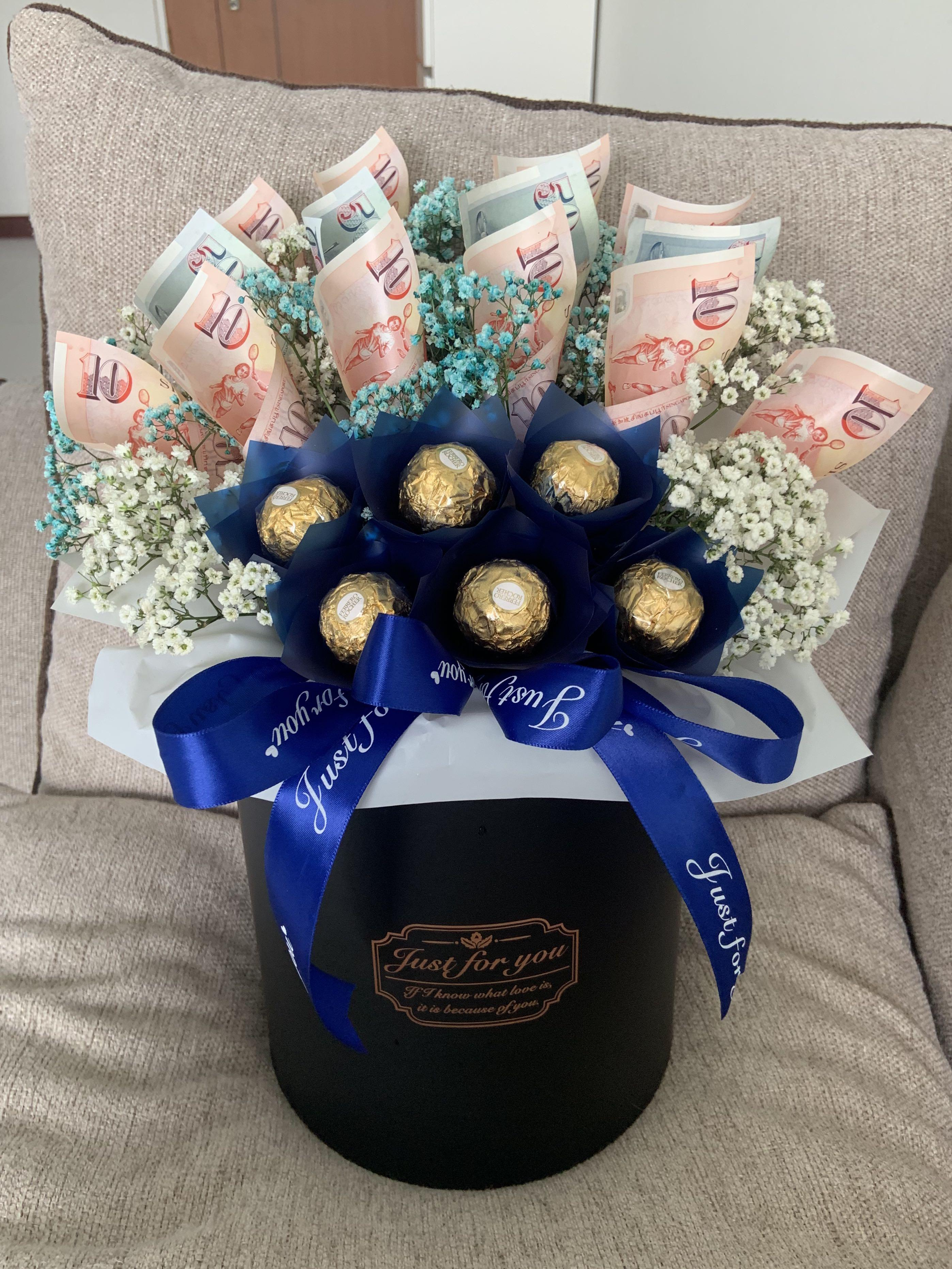 Basket Money Chocolate Bouquet Gardening Flowers Bouquets On Carousell