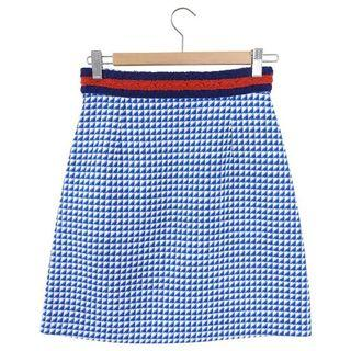 Gucci Blue and White Houndstooth Check Mini Skirt - IT38 / USA 2