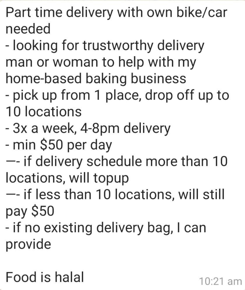 Part time delivery with own bike/car