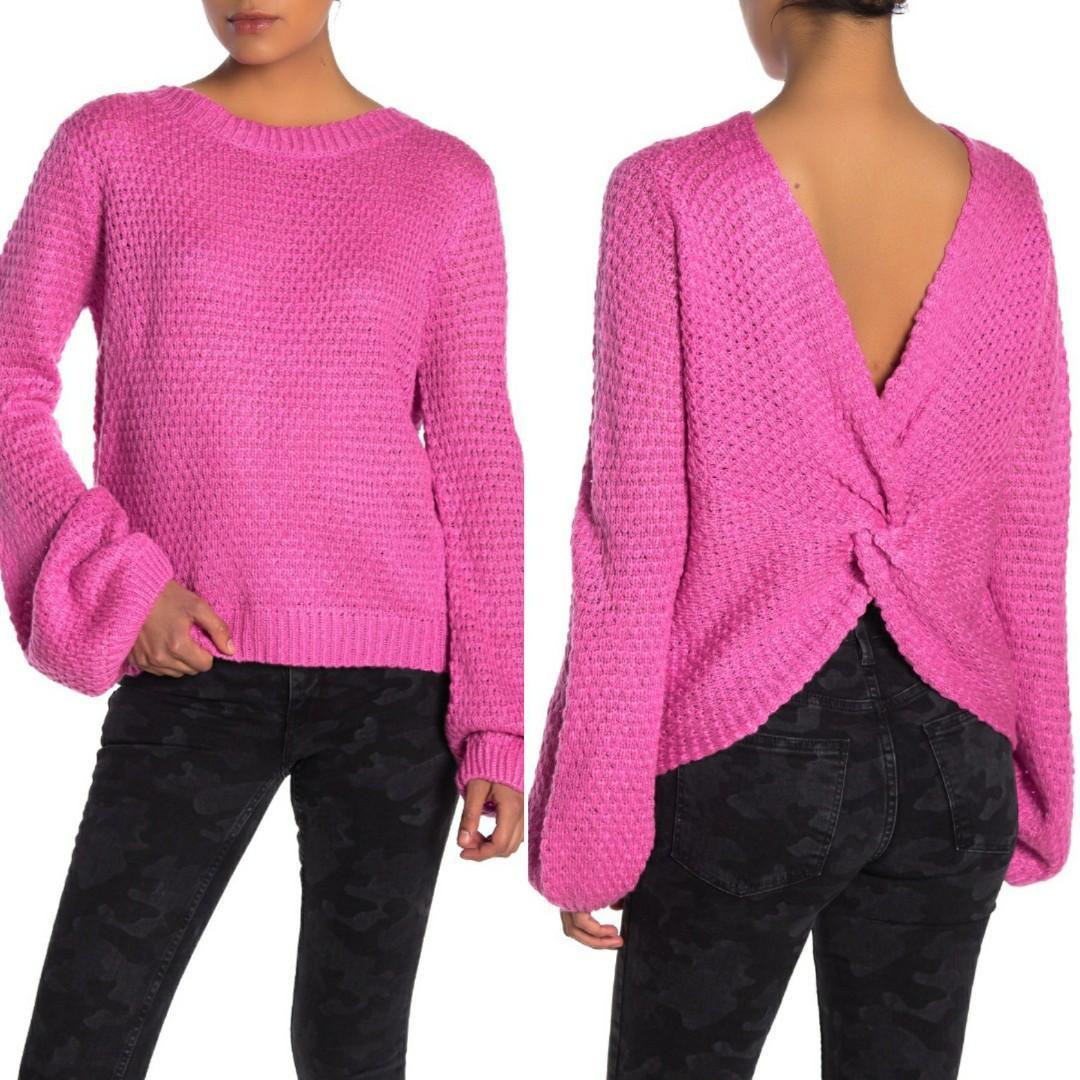 Woven Heart Knot Back Blouson Sleeve Sweater Medium