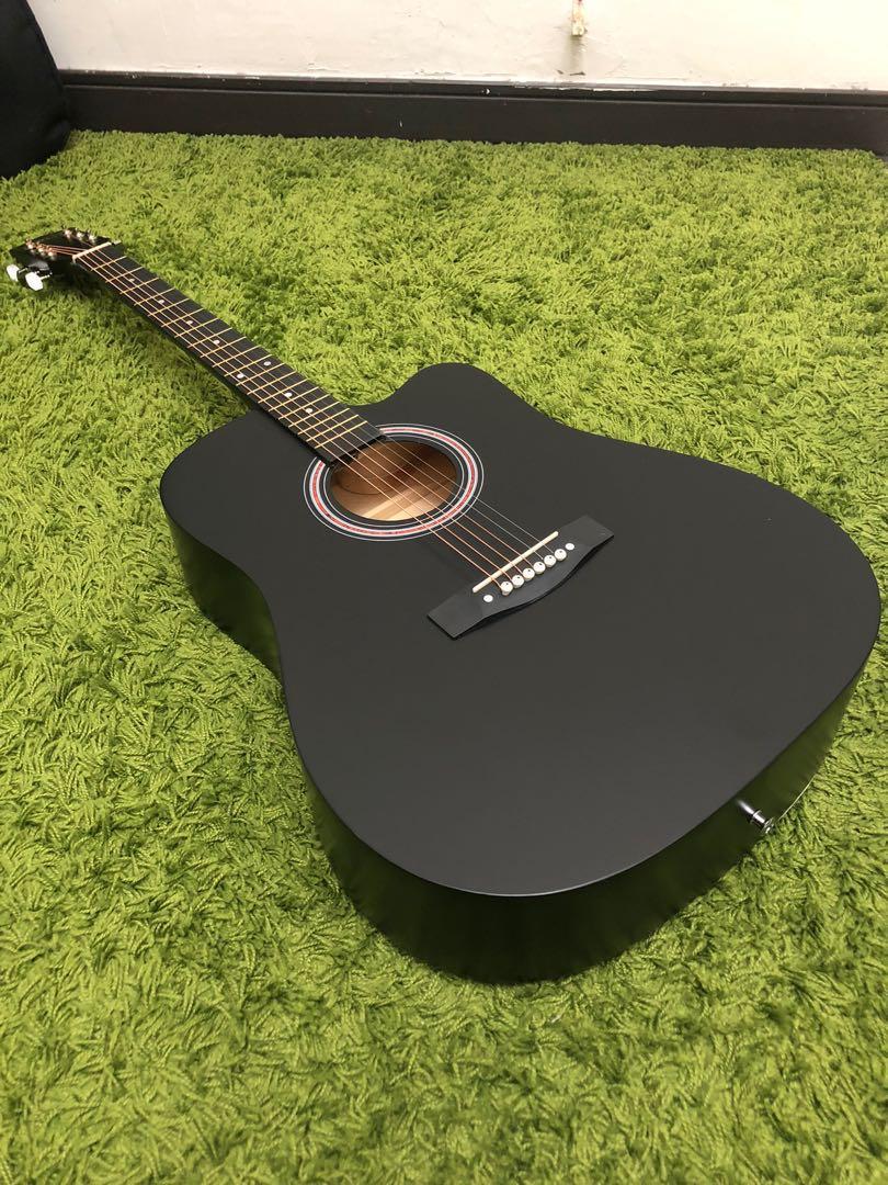全新41吋 民謠吉他 黑色S桶