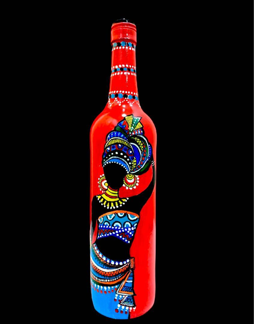 Beautiful Lady Bottle Art Vase Acrylic Hand Painting For Charity Design Craft Art Prints On Carousell