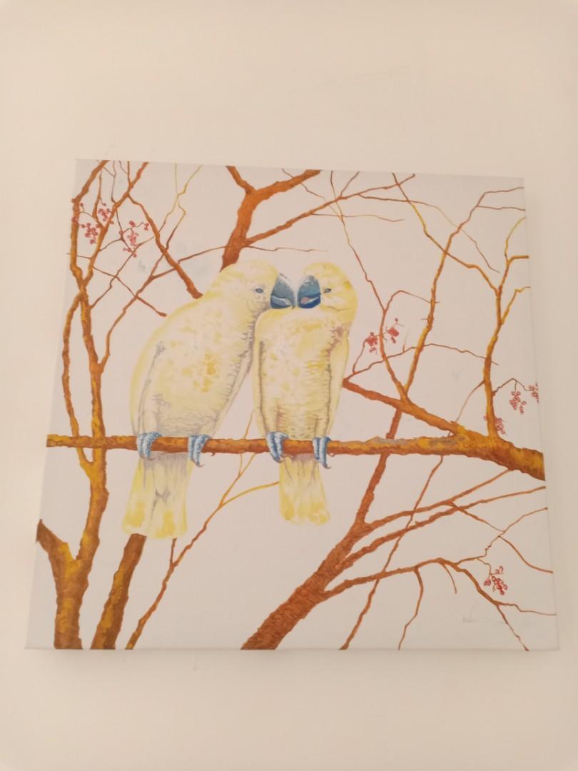 Canvas Painting Couple Yellow Bird lovebird 60x60 #MakingTheBest #Agustus2020