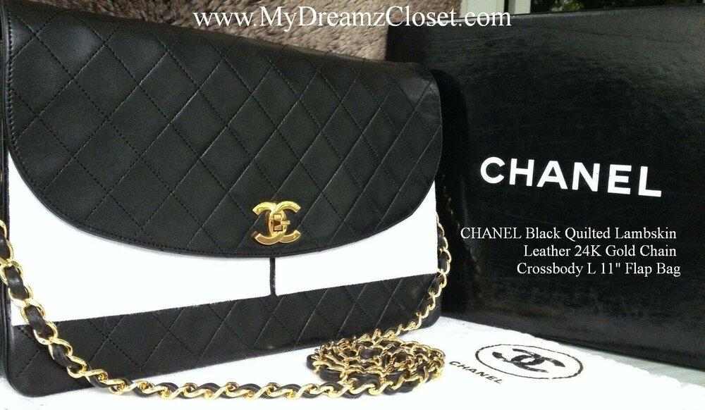 "CHANEL Black Quilted Lambskin Leather 24K Gold Chain Crossbody L 11"" Flap Bag"