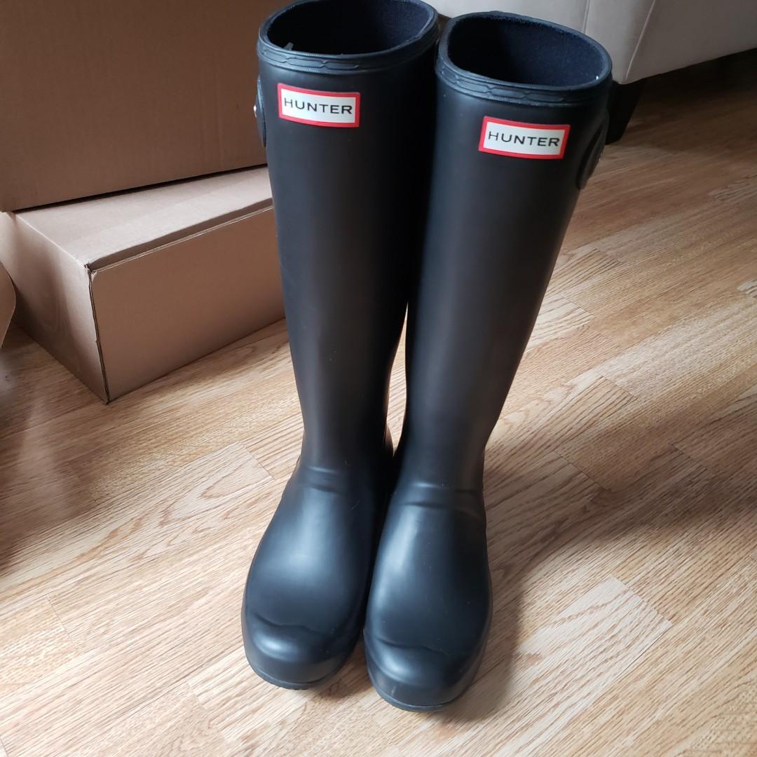 Hunter Original Tour Packable Rain Boots Black Size 8