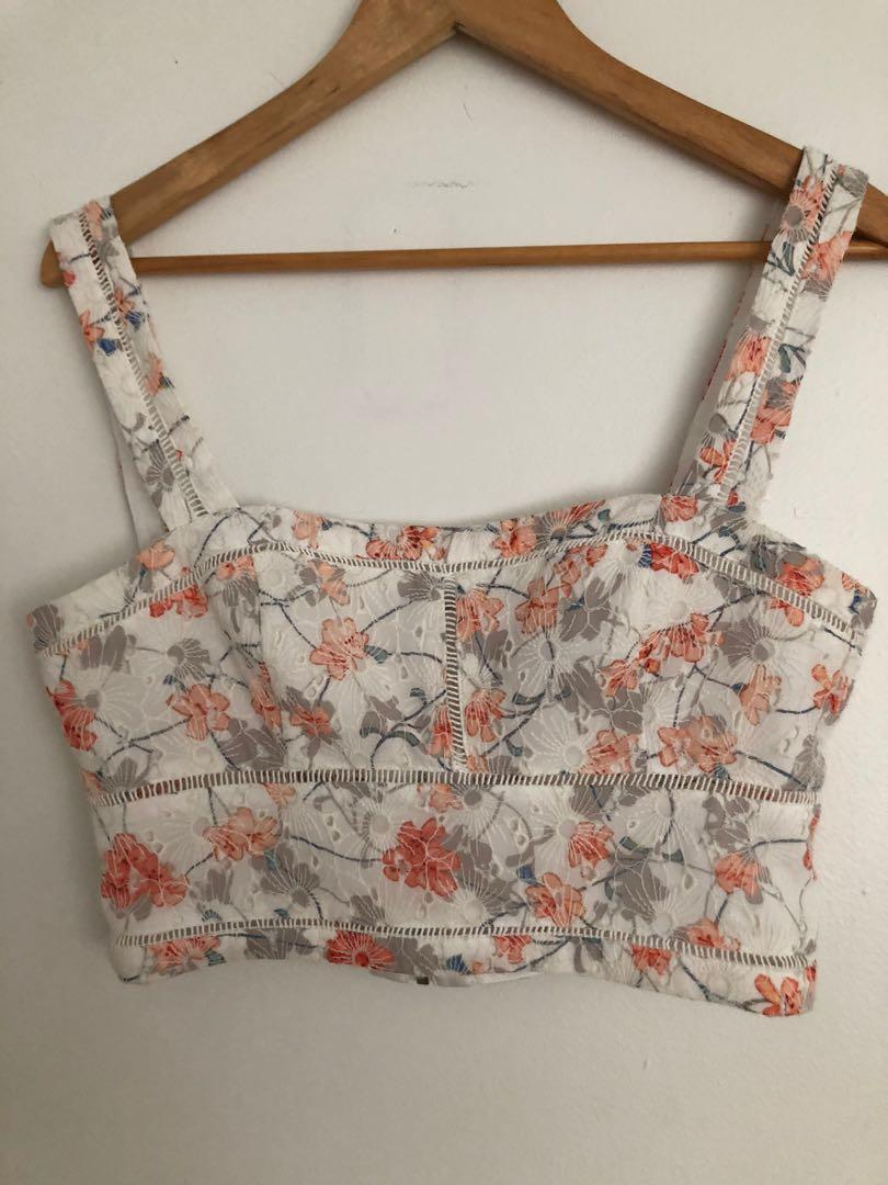 Marciano white flowered crop top, size M