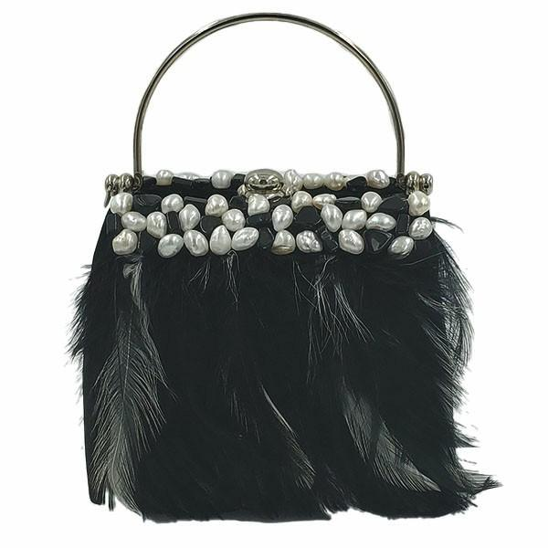 Moo Roo Evening Feather Clutch