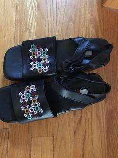New black wedge platform sandals