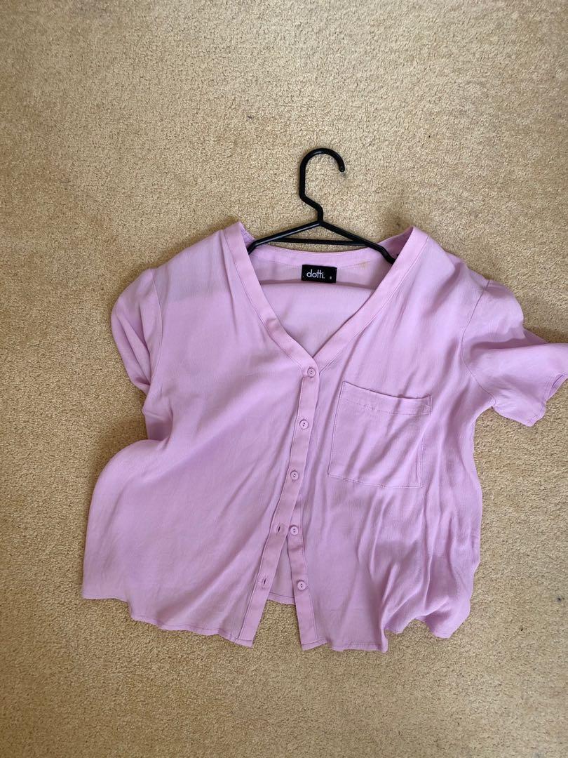 Purple short sleeve blouse