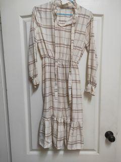 氣質格紋綁帶長裙全新
