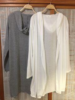 薄棉帽長外套/罩衫 (韓國直購450/件)灰全新;白9成新(二選一)