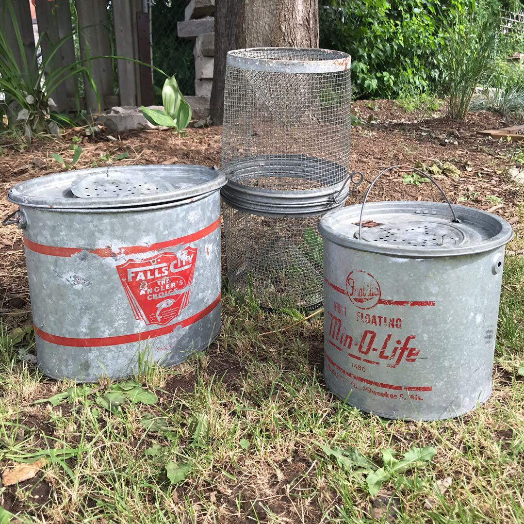 Antique minnow and bait buckets