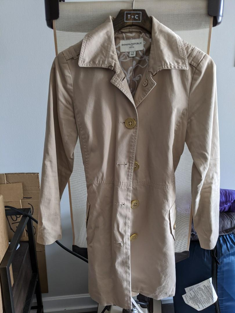 Banana Republic Petite XS Cotton Trench Coat with Belt