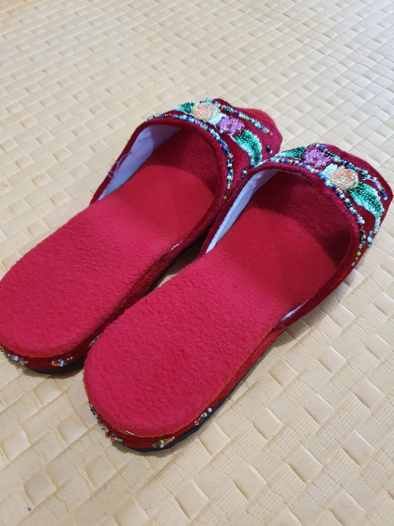 Red Open Toe Bedroom Slippers Women S Fashion Shoes Flats Sandals On Carousell