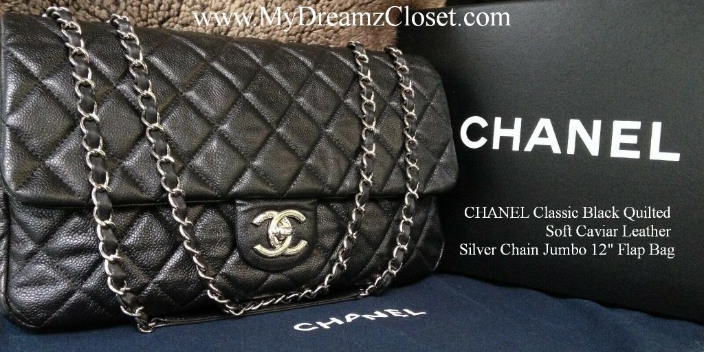 CHANEL Classic Black Quilted Soft Caviar Leather Silver Chain Jumbo 12 Flap Bag