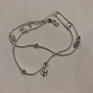Double Layer 4 Leaf Clover Chained Anklet