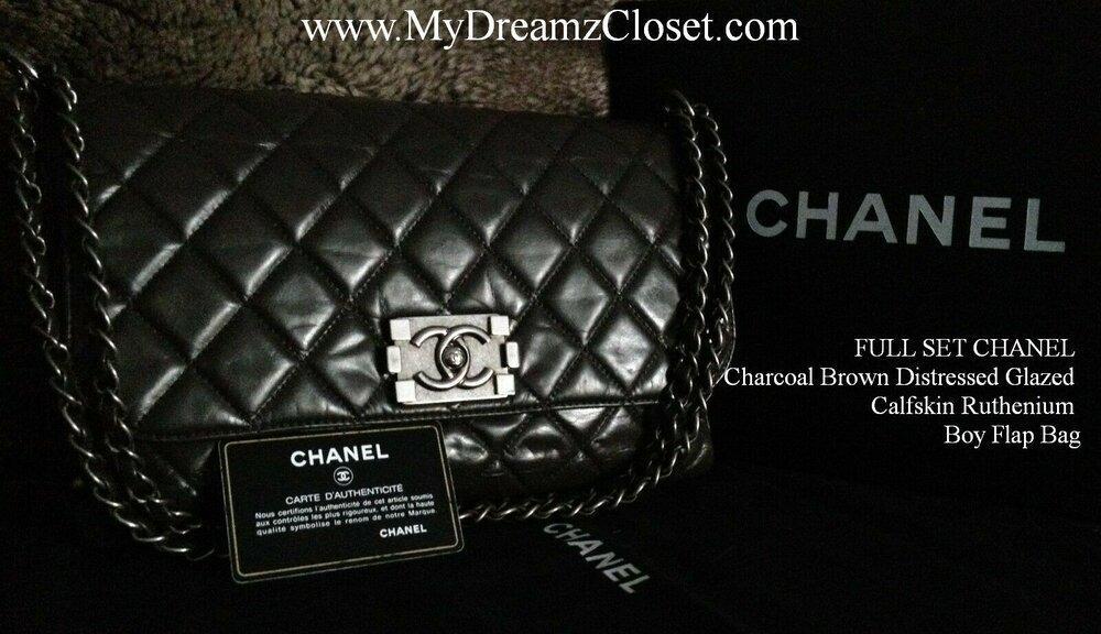 FULL SET CHANEL Dark Brown Distressed Calfskin Leather Ruthenium Boy Flap Bag