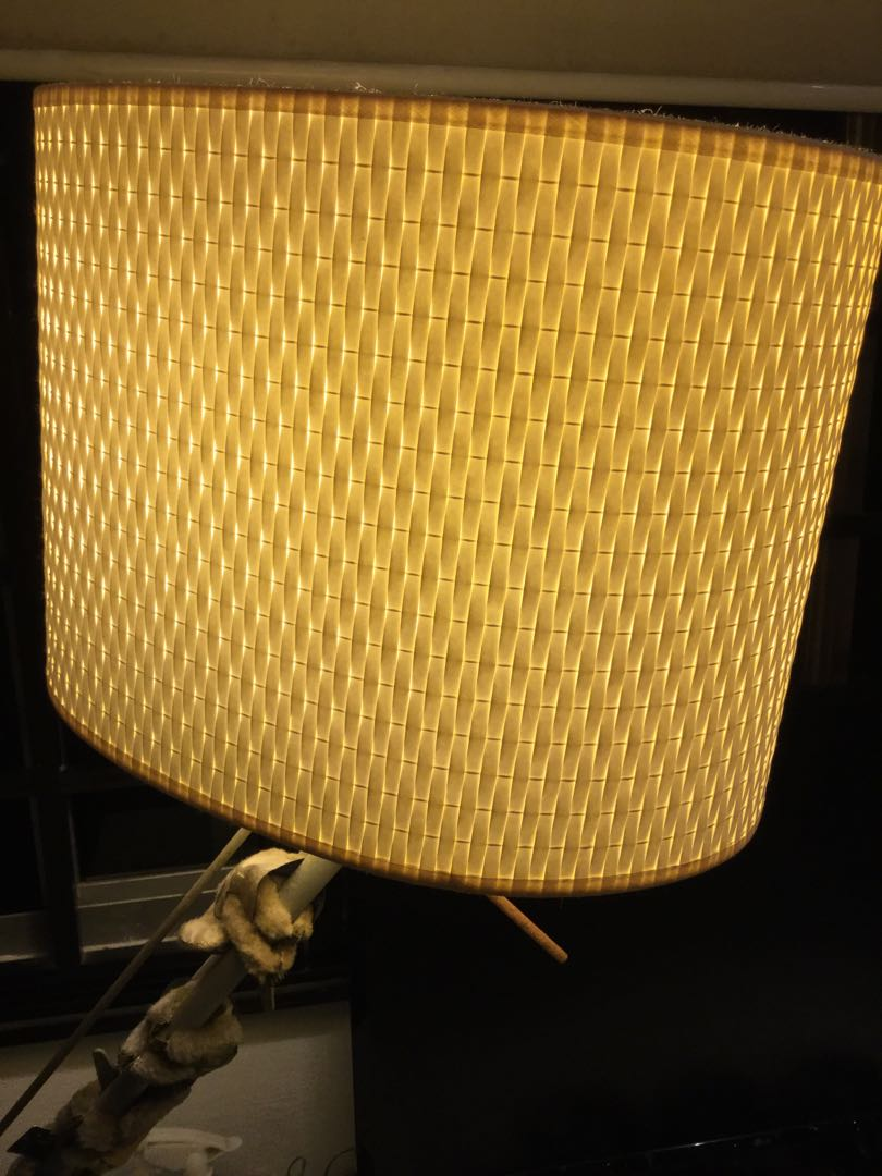 Ikea Standing Lamp With Woven Lampshade Furniture Home Decor Lighting Supplies On Carousell