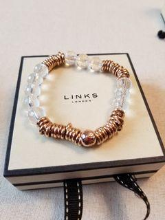 LINKS OF LONDON Rose Gold Sweetie Bracelet w Rock Crystals