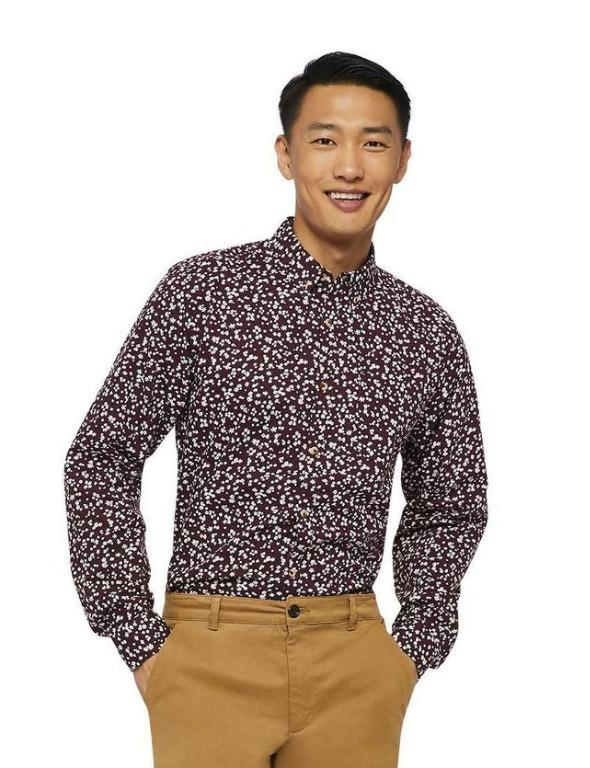Men's Long Sleeve Soft Washed Poplin Shirt (Size S)