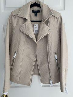 *NEW* Forever 21 cream leather jacket sz s