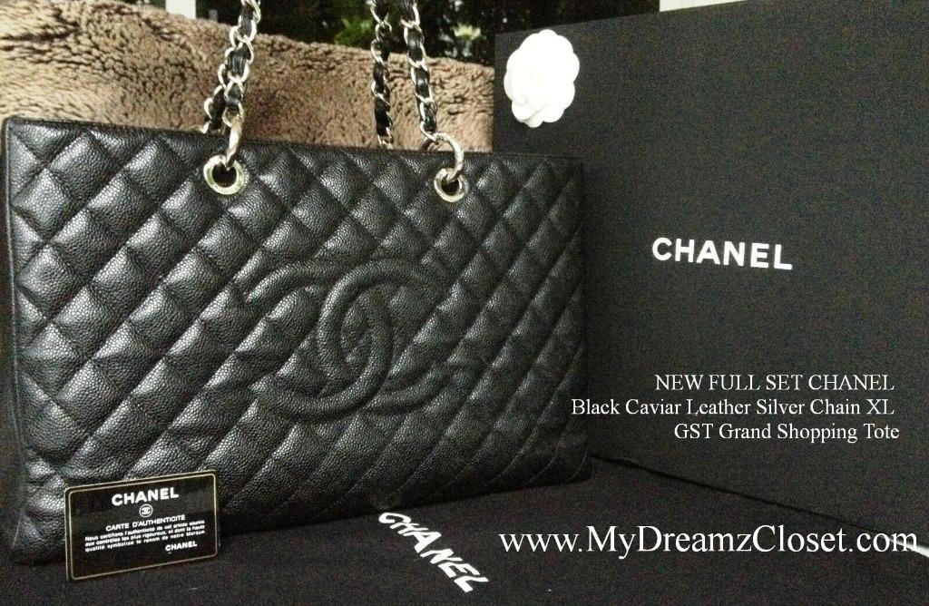 NEW FULL SET CHANEL Black Caviar Leather Silver Chain XL GST Grand Shopping Tote
