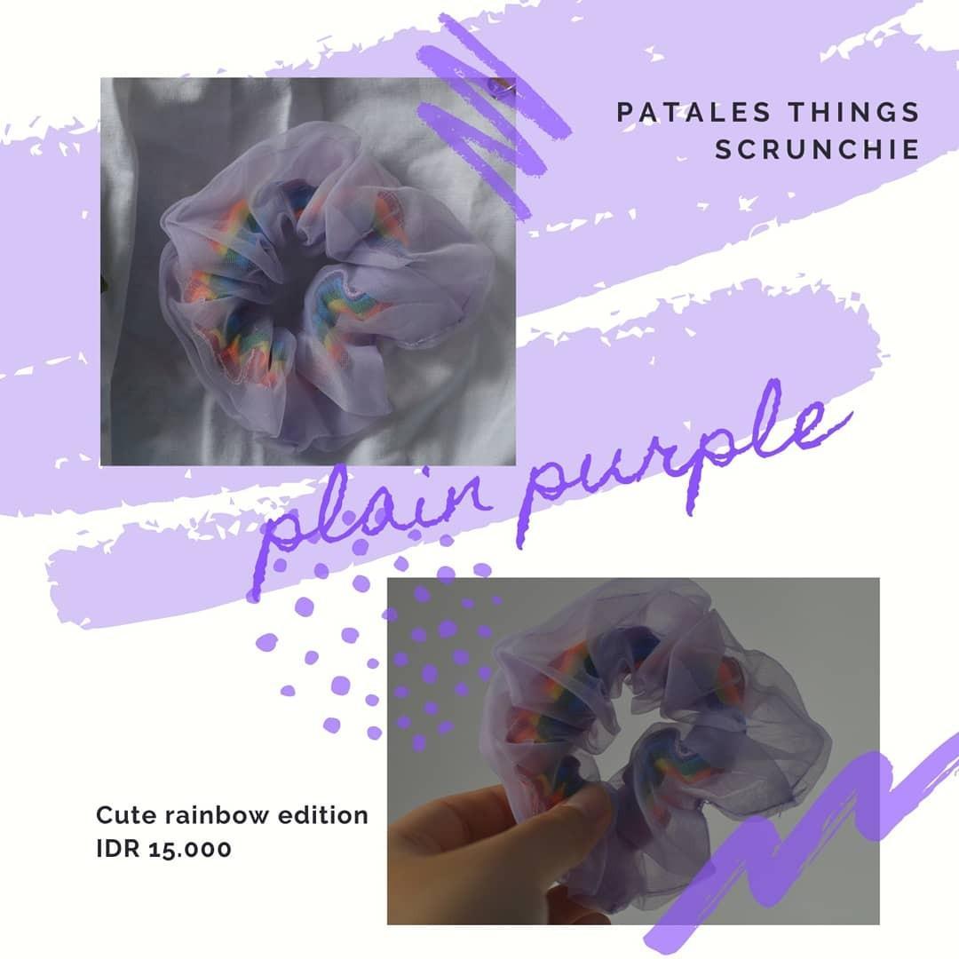 NEW Scrunchie ungu dan ungu polka