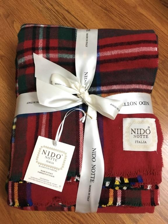 Nido Notte Italia Plaid Blanket Throw (Queen Size)