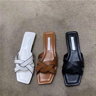全新 韓國 交叉麻花設計拖鞋 拖鞋 鞋 黑色
