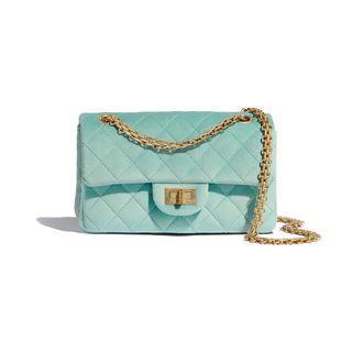 Chanel SS20 Rare Velvet Tiffany Blue 2.55 Reissue Small
