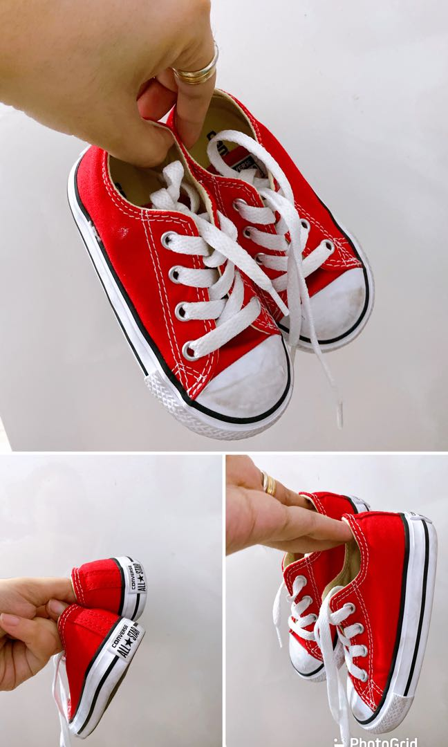 CONVERSE BABY RED CHUCKS RUBBER SHOES