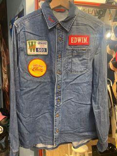 EDWIN 503貼布丹寧工作襯衫 美式工作襯衫 牛仔襯衫