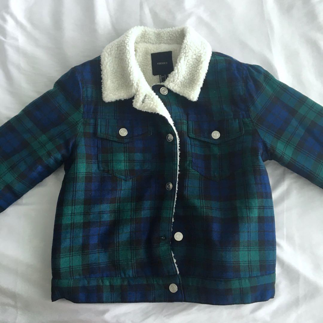 Forever 21 Sherpa Lined Plaid Jacket