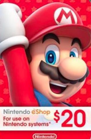 USD Nintendo Gift Card eShop $20 / $50 / $100