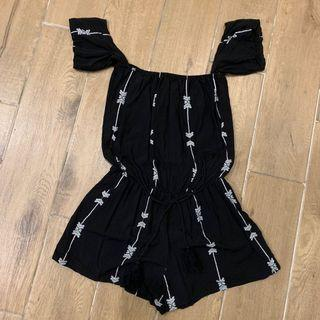 [全新]‼️全賣場🈵️500免運‼️一字領黑色連身褲 連身裝 連身衣 #HBB