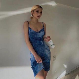 歐美潑墨渲染紮染細肩帶洋裝 彈性貼身 嬉皮 波西米亞