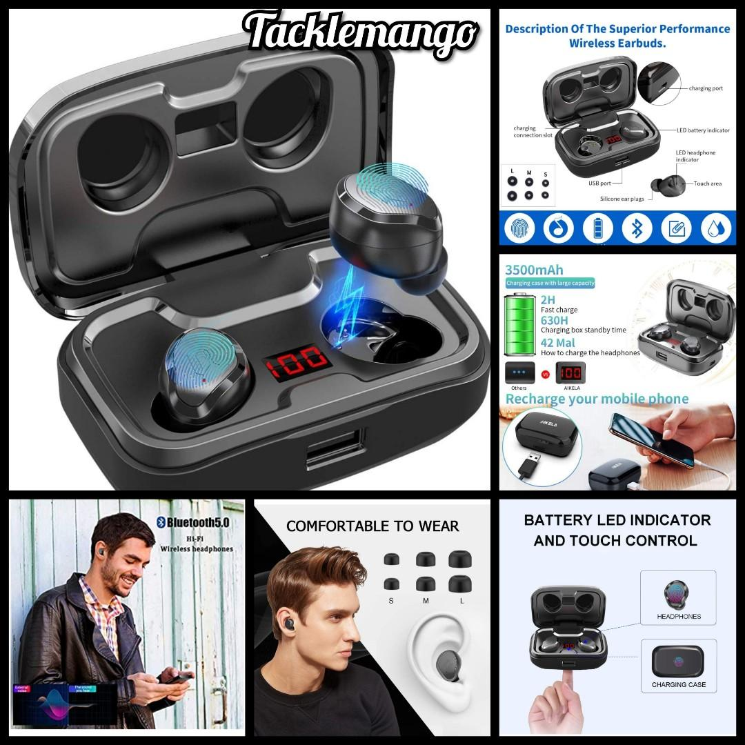 Aikela Wireless Headphones Bluetooth 5 0 Tws Headphones Wireless Earphones Earbuds Noise Canceling 140 Hours Of Playtime With Mic Hifi Led Display Ipx7 Waterproof For Iphone Android Ios Electronics Others On Carousell