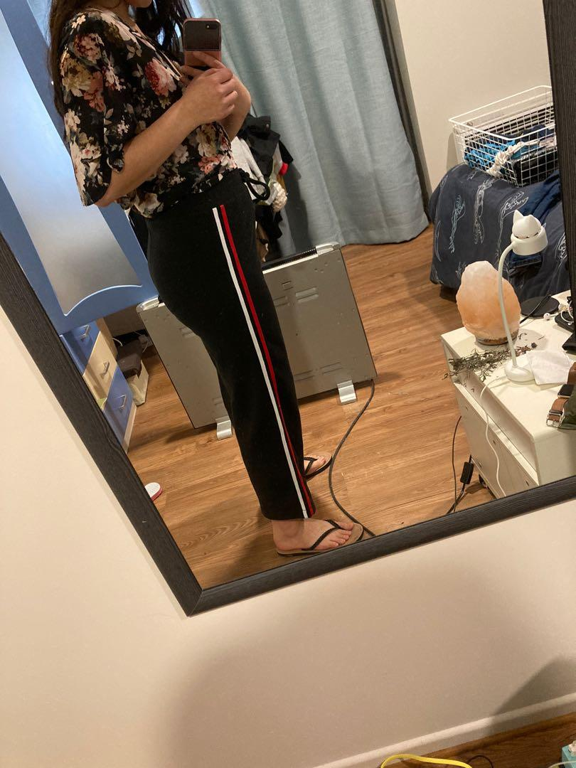 Black Knitted Pants with Stripes