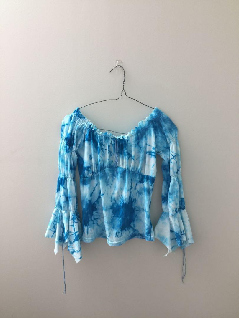 Blue off shoulder tie dye top