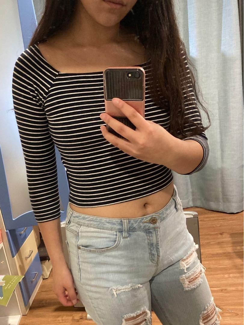 Cotton On Striped Crop Top size 10