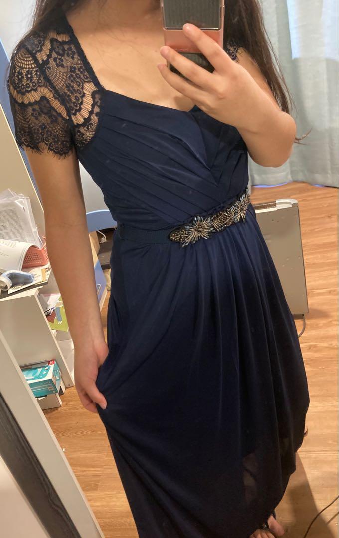Elegant Navy Blue Ball Dress