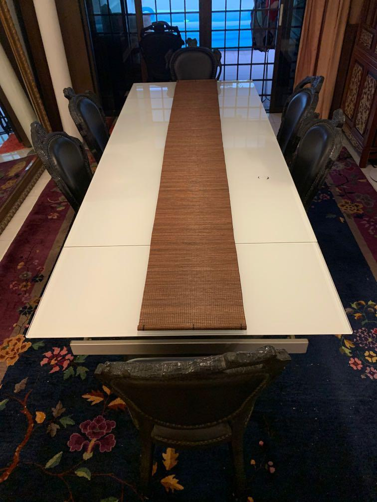 Glass Extendable Dining Table Furniture Tables Chairs On Carousell