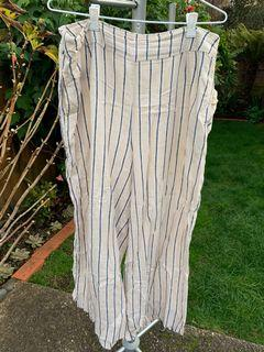 GLASSONS CREAM STRIPPED FLOWY PANTS